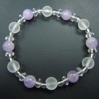 Milky Lavender Amethyst+Frosted Crystal