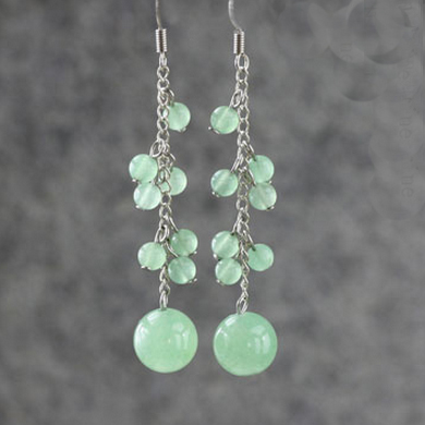 Green Aventurine Alloy Earring