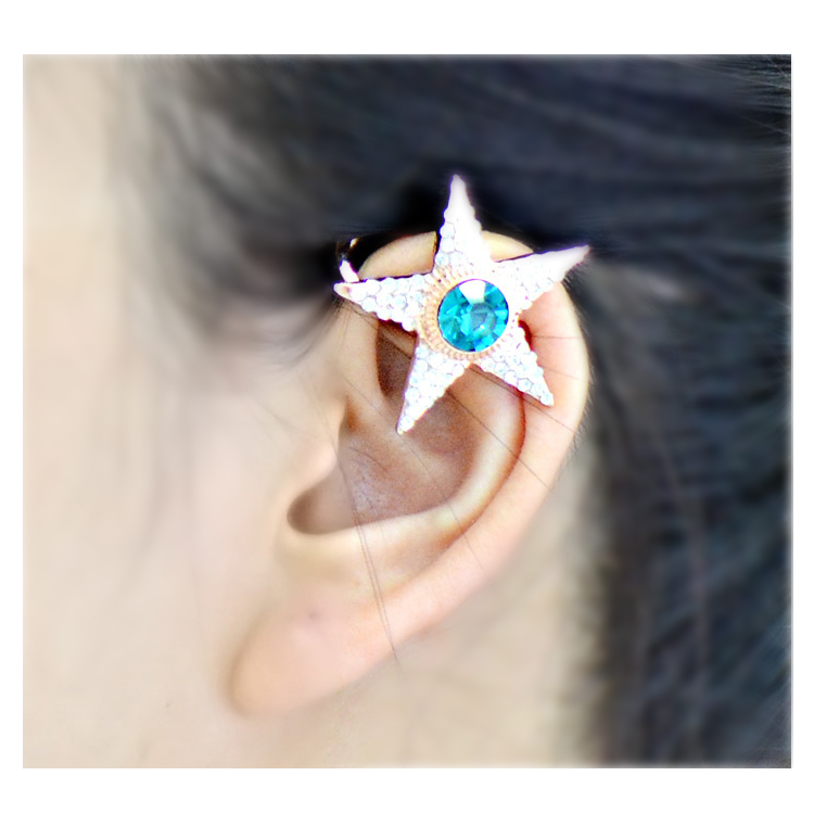 [Rhinestone jewel bright pentagram] Ear cuff