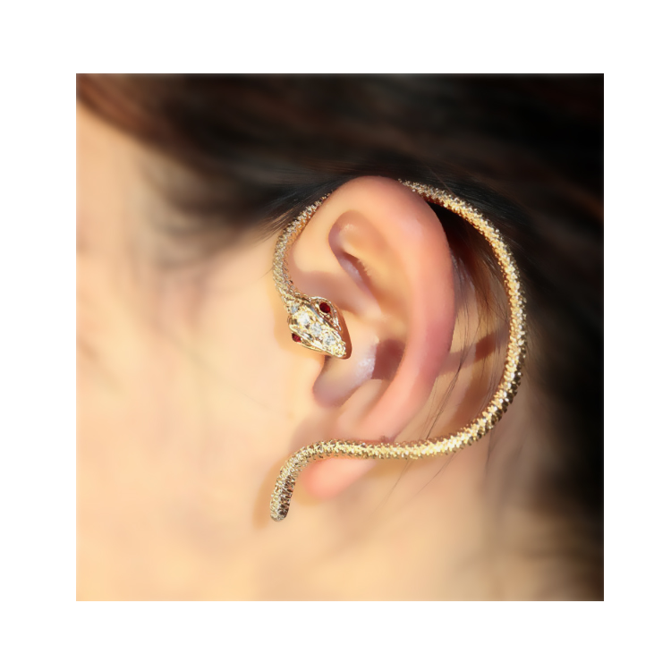[Fashion rhinestone two snakes] Ear cuff