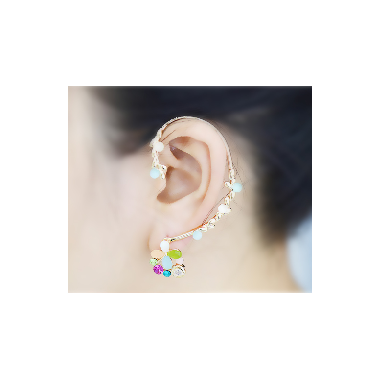 [Colorful opal flower] Ear cuff