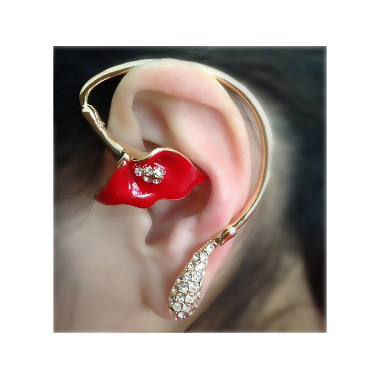 [Fashion rhinestone morning glory] Ear cuff